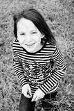Girl smiling black and white Royalty Free Stock Photography