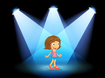 A girl smiling at the center of the stage. Illustration of a girl smiling at the center of the stage Stock Photo