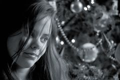 Girl smiling at Christmas royalty free stock photography