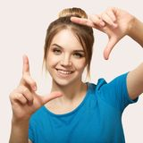 The girl is smiling. close-up. Selfie royalty free stock photos