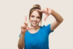 The girl is smiling. close-up. Selfie royalty free stock photography