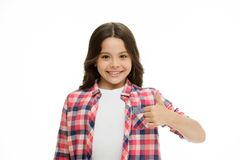 Girl smiling face feels confident. Child confidently showing thumbs up. Upbringing confidence concept. Feel so confident. With parental support. I like it. Kid stock photo
