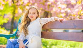 Girl on smiling face sits on bench, sakura on background, defocused. Girl relaxing while walk in park near cherry royalty free stock photo