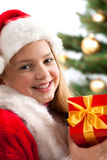 Girl smiling with gift box Stock Photos