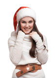The girl is smiling in the hat Royalty Free Stock Photos