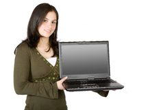 Girl smiling with a laptop on her hands Royalty Free Stock Photo