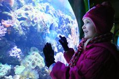 Girl smiling looking into a fishtank at an aquarium. Cute blonde girl learning about sea life in an aquarium in the uk royalty free stock photos