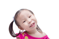 Girl smiling over white Stock Photo