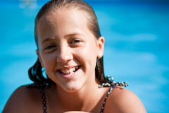 Girl Smiling at Pool Stock Photo