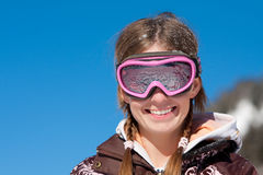 Girl smiling with ski mask Stock Image