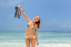 Girl smiling with snorkel Stock Photography