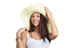 Girl smiling in straw hat Royalty Free Stock Images