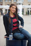 Girl smiling in the street. Preaty girl smiling in the street Stock Photos