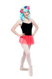 Girl Smiling in Tutu and Leotard Pointy Ballet Shoes Royalty Free Stock Images