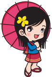 Girl smiling with umbrella Stock Image
