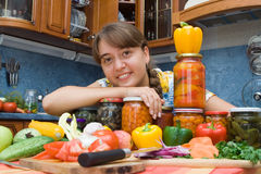 Girl smiling with vegetables Stock Images