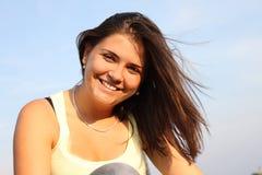 Girl smiling3. Beautiful cute smiling female having fun outdoor Stock Images