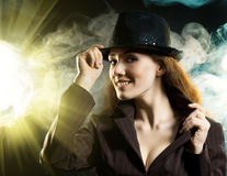 Girl in the smoke Royalty Free Stock Image