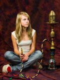 Girl smoking Stock Images