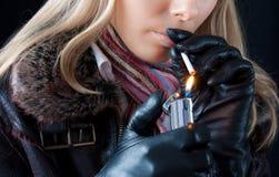 Girl smoking Royalty Free Stock Photography
