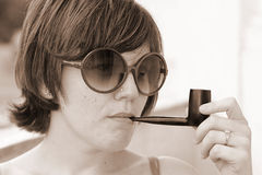 Girl Smoking Pipe Royalty Free Stock Photo