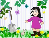 Girl and Snail in the Garden. A smiling little girl, in a garden, looking at a snail Stock Photos