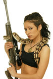 Girl with snake Stock Images