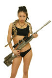Girl with snake. Asian girl with snake and rifle on the white background Stock Photography