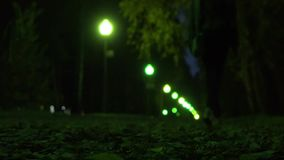 Girl in sneakers walking on autumn fallen leaves at night, shallow focus. Park alley green bokeh lights. 4K video stock video footage