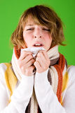 Girl sneezes Royalty Free Stock Photography