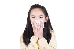 Girl sneezing Royalty Free Stock Photos