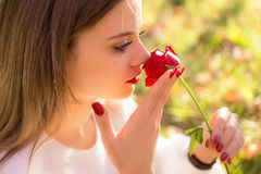Girl sniffing a red rose in San Valentine day. A Girl sniffing a red rose in San Valentine day Stock Image