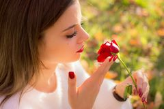 Girl sniffing a red rose in San Valentine day. A Girl sniffing a red rose in San Valentine day Royalty Free Stock Images