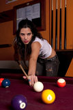 Girl on a snooker table Stock Photos