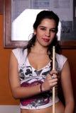 Girl on a snooker table Royalty Free Stock Photos