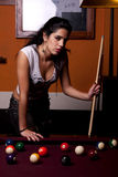 Girl on a snooker table Royalty Free Stock Photography