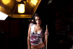 Girl on a snooker table Stock Images