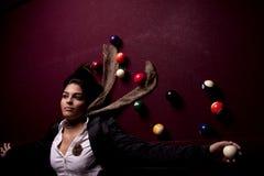 Girl on a snooker table Stock Photos
