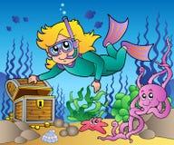 Girl snorkel diver exploring sea. Illustration Stock Photos
