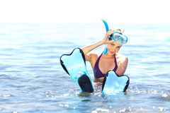 Girl with snorkel equipment Royalty Free Stock Photography