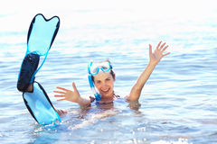 Girl with snorkel equipment Stock Images