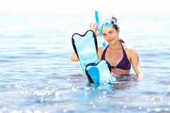 Girl with snorkel equipment Stock Photo