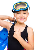 Girl with snorkel equipment Royalty Free Stock Image