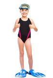 Girl with snorkel equipment. Happy girl with snorkel equipment, isolated over white Stock Photos