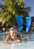 Girl in snorkel gear Royalty Free Stock Images