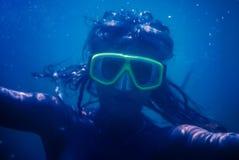 Girl in snorkel mask Stock Photo
