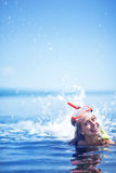 Girl after snorkeling. Haapy girl on a beach after snorkeling Royalty Free Stock Photos