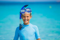 Girl snorkeling stock photos