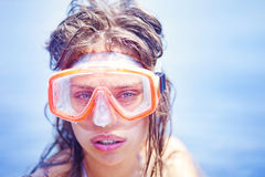 Girl in a snorkeling mask. Beautiful girl in a snorkeling mask Royalty Free Stock Image