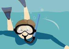 Girl with snorkeling mask enjoying the undersea Stock Image